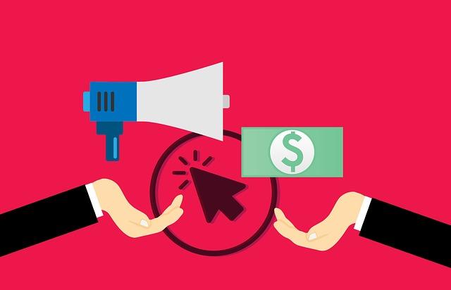 illustration of click advertising with bullhorn and dollar bill